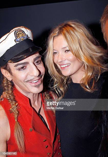 John Galliano and Kate Moss attend the Christian Dior Ready to Wear Spring/Summer 2011 show during Paris Fashion Week at Espace Ephemere Tuileries on...