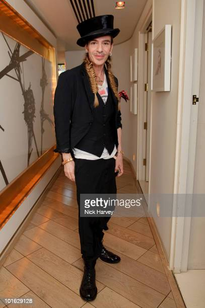 John Galliano attends Fashion Fringe at Covent Garden 2010 panel discussion with Colin McDowell new chairperson John Galliano Nick Knight and Lady...
