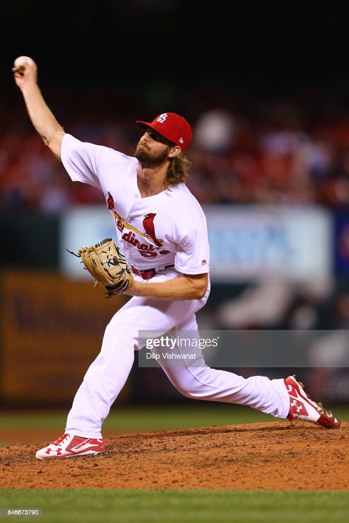 John Gant #53 of the St. Louis Cardinals pitches against the Cincinnati Reds in the sixth inning at Busch Stadium on September 13, 2017 in St. Louis, Missouri.