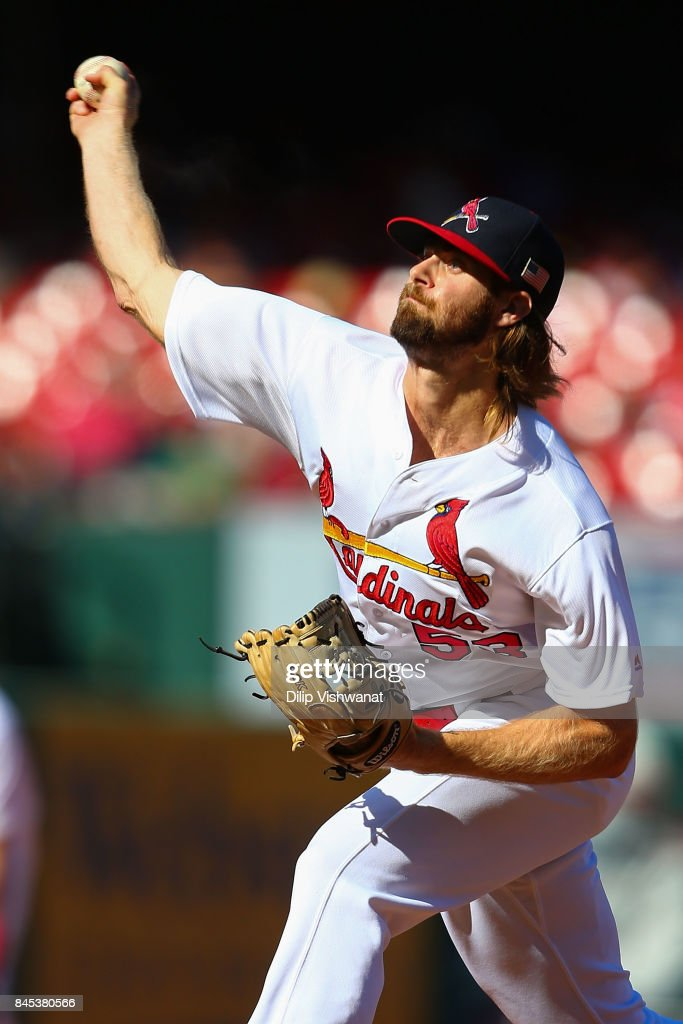 John Gant #53 of the St. Louis Cardinals pitches against the Pittsburgh Pirates in the ninth inning at Busch Stadium on September 10, 2017 in St. Louis, Missouri.