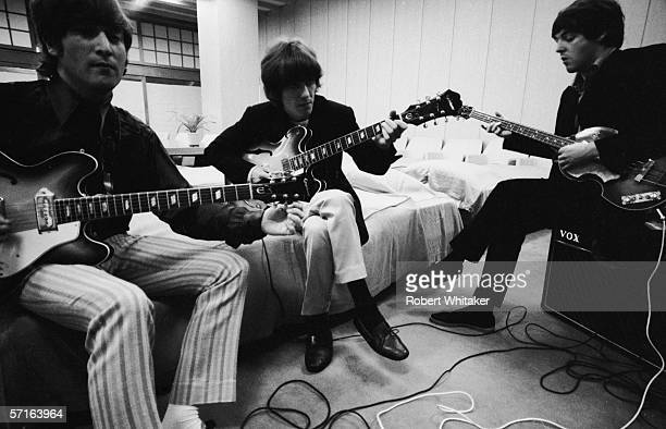 John George and Paul backstage at the Nippon Budokan in Tokyo during the Beatles' Asian tour 1966