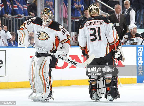 John Gibson comes into the game to replace Frederik Andersen of the Anaheim Ducks after allowing three goals in the first period against the New York...