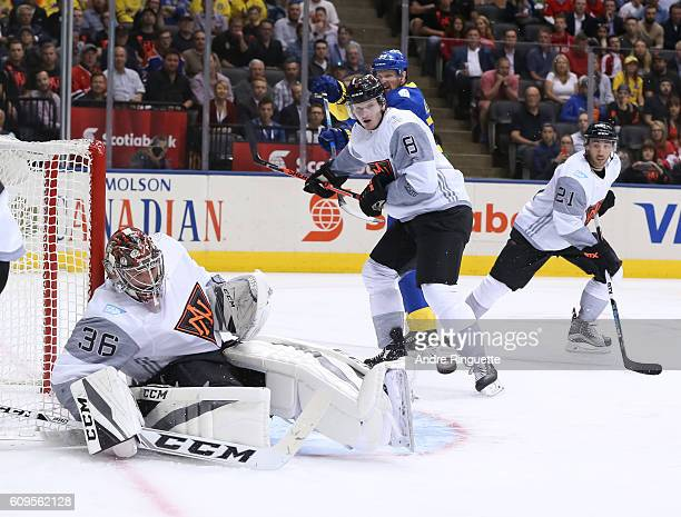 John Gibson of Team North America makes a save against Team Sweden during the World Cup of Hockey 2016 at Air Canada Centre on September 21 2016 in...