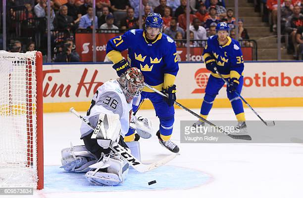 John Gibson of Team North America makes a save with Loui Eriksson of Team Sweden in front during the World Cup of Hockey 2016 at Air Canada Centre on...