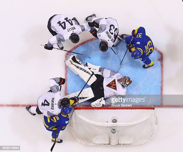 John Gibson of Team North America makes the save against Team Sweden at the World Cup of Hockey tournament at the Air Canada Centre on September 21...
