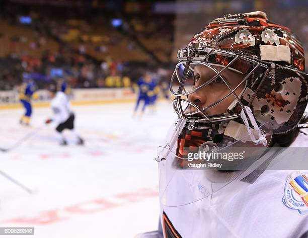 John Gibson of Team North America warms up prior to a game against Team Sweden during the World Cup of Hockey 2016 at Air Canada Centre on September...