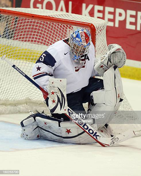 John Gibson of Team USA skates against Team Finland at the USA hockey junior evaluation camp at the Lake Placid Olympic Center on August 8 2012 in...