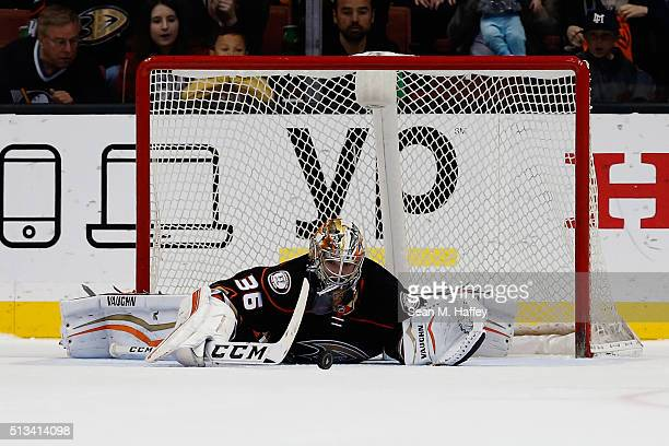 John Gibson of the Anaheim Ducks blocks a shot by Max Pacioretty of the Montreal Canadiens during the shootout at Honda Center on March 2 2016 in...