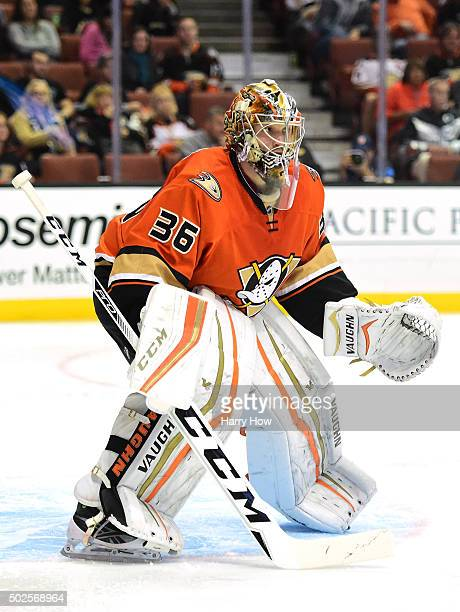 John Gibson of the Anaheim Ducks in goal against the Pittsburgh Penguins at Honda Center on December 6 2015 in Anaheim California