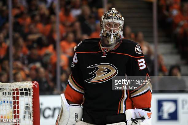John Gibson of the Anaheim Ducks looks on in the second period in Game One of the Western Conference Second Round during the 2017 NHL Stanley Cup...