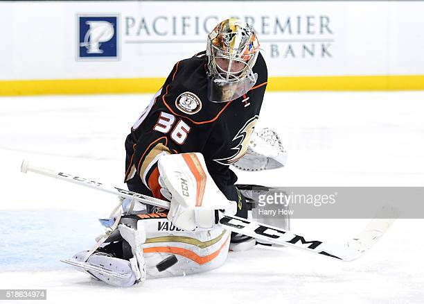 John Gibson of the Anaheim Ducks makes a pad save during the second period against the Vancouver Canucks at Honda Center on April 1 2016 in Anaheim...