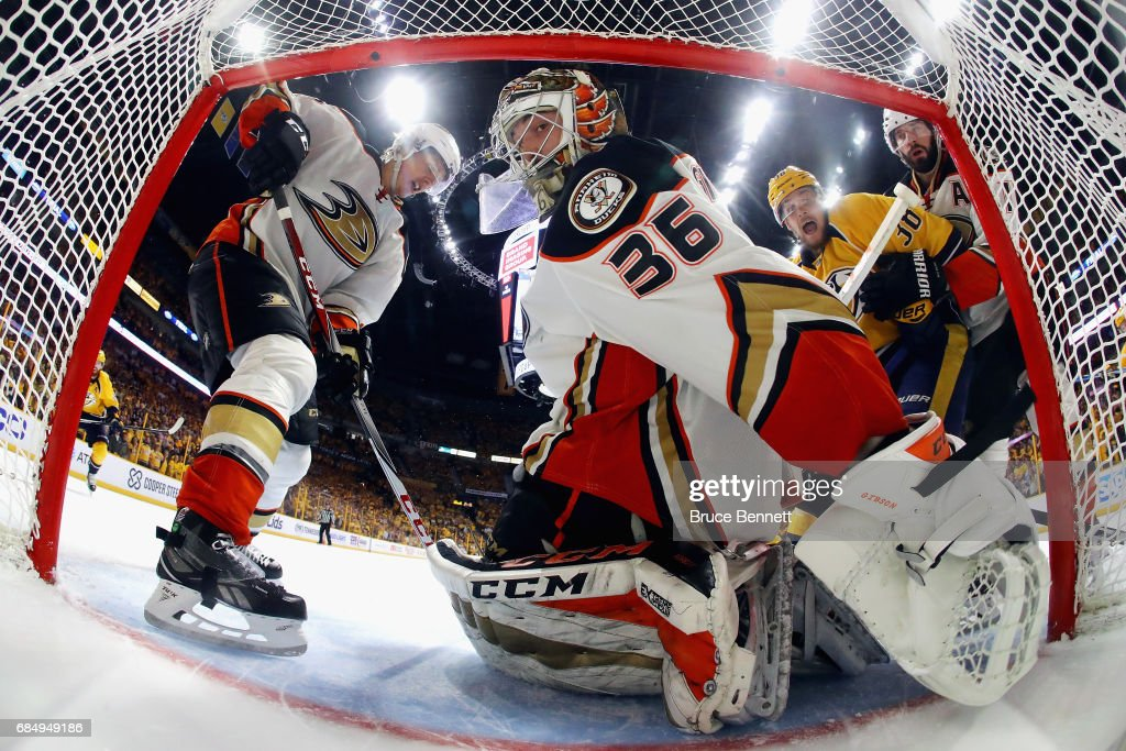 John Gibson #36 of the Anaheim Ducks reacts after Filip Forsberg #9 of the Nashville Predators scored a third period goal to tie the game 2-2 in Game Four of the Western Conference Final during the 2017 Stanley Cup Playoffs at Bridgestone Arena on May 18, 2017 in Nashville, Tennessee.