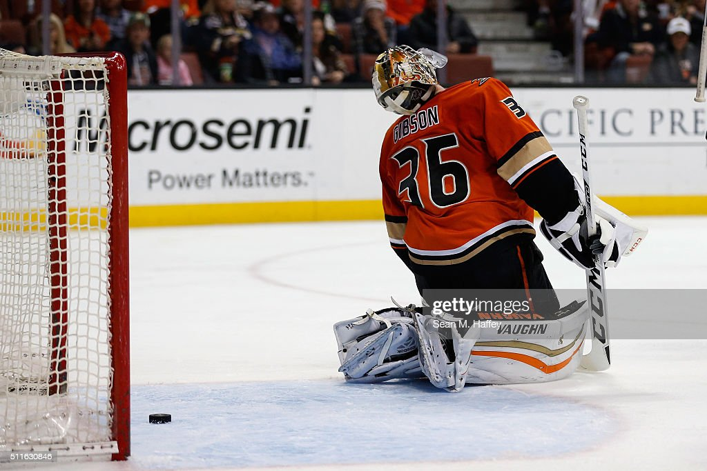 John Gibson #36 of the Anaheim Ducks reacts to a goal during the second period in a game against the Calgary Flames at Honda Center on February 21, 2016 in Anaheim, California.
