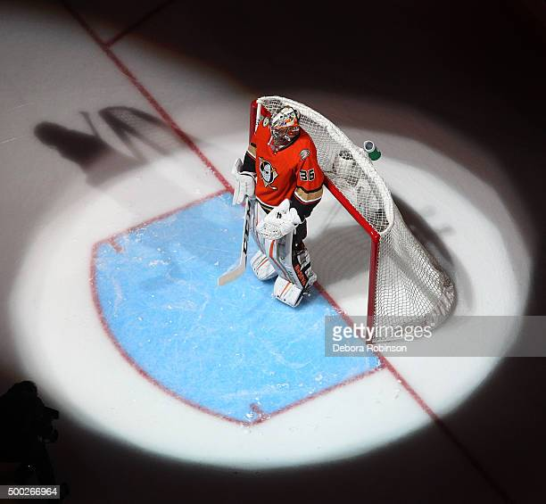 John Gibson of the Anaheim Ducks skates during the pregame introductions prior to the game against the Pittsburgh Penguins on December 6 2015 at...