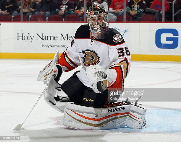 John Gibson of the Anaheim Ducks tends goal during the second period against the New Jersey Devils at the Prudential Center on March 29 2015 in...