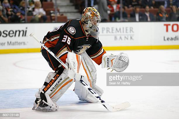 John Gibson of the Anaheim Ducks tends net during a game against the Vancouver Canucks at Honda Center on November 30 2015 in Anaheim California