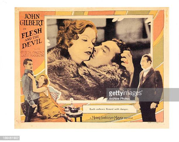 John Gilbert Greta Garbo and Lars Hanson in movie art from the film 'Flesh And The Devil' 1927