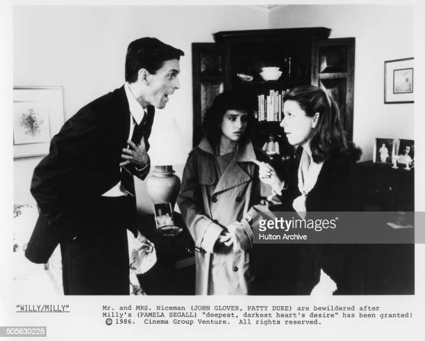 John Glover Pamela Adlon and Patty Duke argue in a scene from the movie 'Willy/Milly' circa 1986