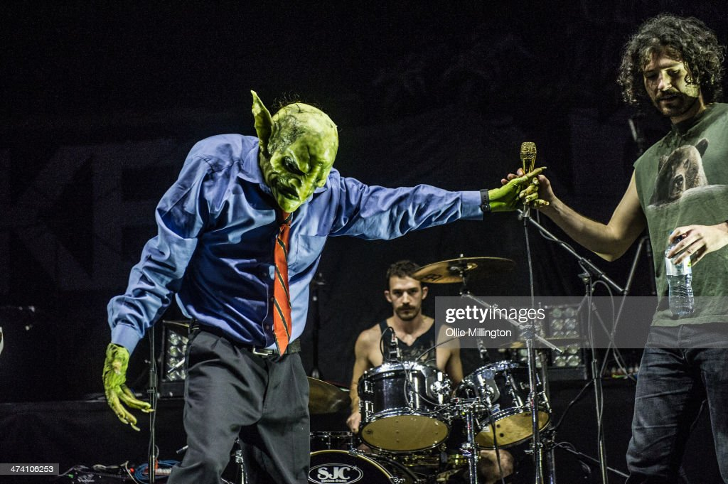 John Goblikon, Eddie Trager and Scorpion of Nekrogoblikon perform on the last night of the Kerrang Tour onstage at Brixton Academy on February 21, 2014 in London, United Kingdom.