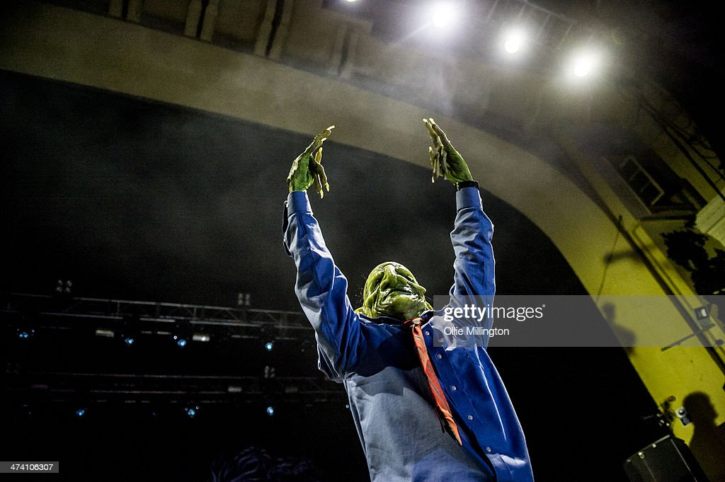 John Goblikon of Nekrogoblikon performs on stage during the last night of the Kerrang Tour at Brixton Academy on February 21, 2014 in London, United Kingdom.