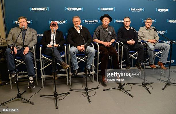 John Goodman Bob Balaban Hugh Bonneville Bill Murray Matt Damon and George Clooney of the cast of 'The Monuments Men' answer questions from fans...