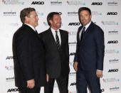 John Goodman Bryan Cranston and Ben Affleck attend the Gala Premiere of 'Argo' during the 56th BFI London Film Festival at Odeon Leicester Square on...