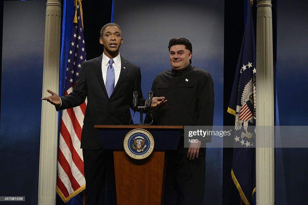 LIVE 'John Goodman' Episode 1650 Pictured Jay Pharoah as President Barack Obama Bobby Moynihan as Kim Jongun during the 'Obama Mandela' cold open