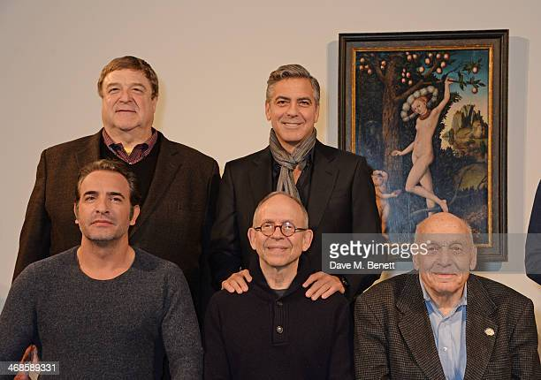 John Goodman George Clooney Jean Dujardin Bob Balaban and real life Monument Man Harry Ettlinger attend a photocall for 'The Monuments Men' at The...