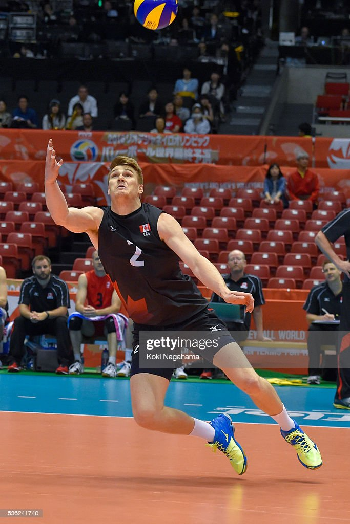 John Gordon Perrin #2 of Canada receives the ball during the Men's World Olympic Qualification game between Venezuela and Canada at Tokyo Metropolitan Gymnasium on June 1, 2016 in Tokyo, Japan.