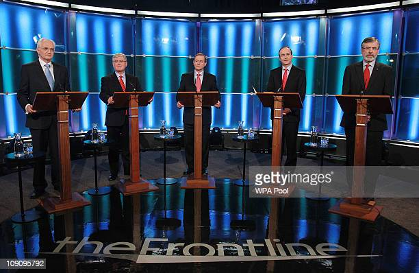 John Gormley of the Green Party Eamon Gilmore of Labour Enda Kenny of Fine Gae Michael Martin of Fianna Fail and Gerry Adams of Sinn Fein take part...