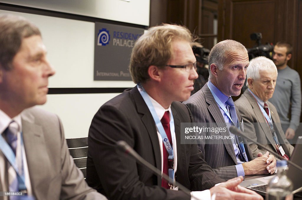 John Goss, Sam Giezendanner, Evert Van Zwol and Ted Murphy attend a press conference of the Ryanair Pilot Group (RPG) of Irish low-cost airline Ryanair, on October 29, 2013, in Brussels. The pilots will elaborate on issues and concerns related to the employment model for Ryanair pilots.