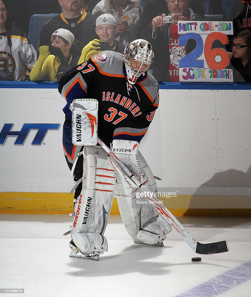 <a gi-track='captionPersonalityLinkClicked' href=/galleries/search?phrase=John+Grahame&family=editorial&specificpeople=201491 ng-click='$event.stopPropagation()'>John Grahame</a> #37 of the New York Islanders skates in warmups prior to the game against the Boston Bruins at the Nassau Veterans Memorial Coliseum on March 31, 2012 in Uniondale, New York. The Bruins defeated the Islanders 6-3.