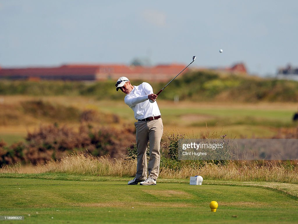 John Greenwood of Poulton Le Fylde Golf Club tees off on the ninth hole during the Virgin Atlantic PGA National Pro-Am Championship - Regional at St Annes Old Links Golf Club on July 13, 2011 in Lytham St Annes, England