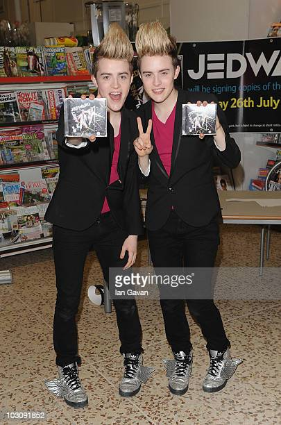 John Grimes and Edward Grimes attend a photocall ahead of meeting fans and signing copies of their album 'Planet Jedward' on July 26 2010 in London...