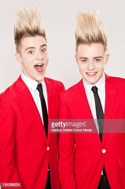 John Grimes and Edward Grimes of 'Jedward' pose during a portrait session on June 4 2011 in Mainz Germany