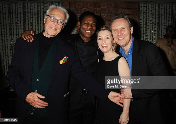 John Guare Obi Abili Lesley Manville and Anthony Head attend the afterparty following the press night of 'Six Degrees Of Separation' at Aqua on...
