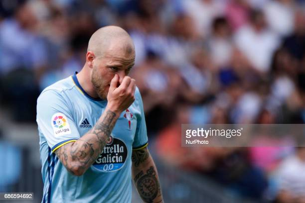 John Guidetti forward of Celta de Vigo during the La Liga Santander match between Celta de Vigo and Real Sociedad de Futbol at Balaidos Stadium on...