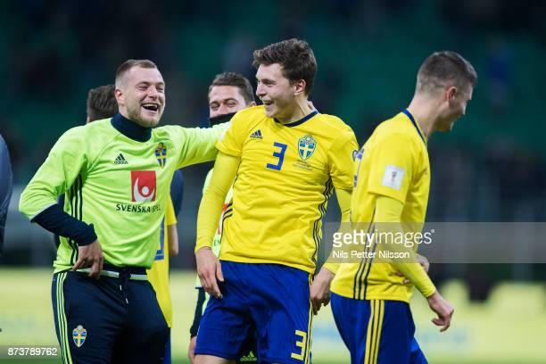 John Guidetti och Victor Lindelof of Sweden celebrates after the FIFA 2018 World Cup Qualifier PlayOff Second Leg between Italy and Sweden at San...