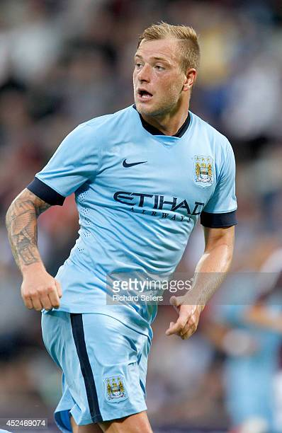 John Guidetti of Manchester City in action during the preseason friendly at Tynecastle Stadium on July 18 2014 in Edinburgh Scotland