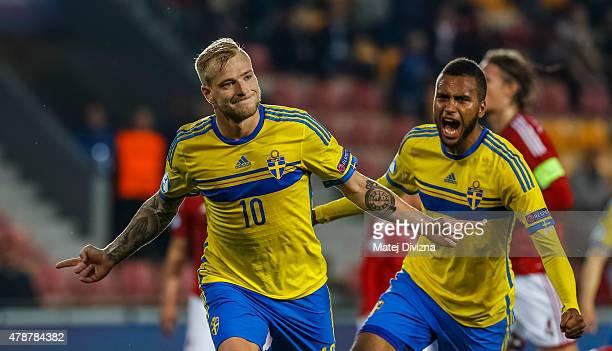 John Guidetti of Sweden celebrates his goal during UEFA U21 European Championship semi final match between Denmark and Sweden at Generali Arena on...