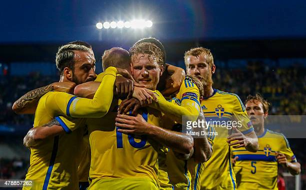 John Guidetti of Sweden celebrates his goal with his teammates during UEFA U21 European Championship semi final match between Denmark and Sweden at...