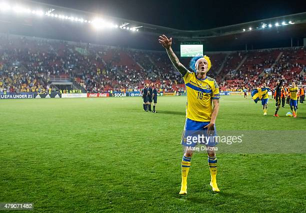 John Guidetti of Sweden celebrates Swedish victory in UEFA U21 European Championship final match between Portugal and Sweden at Eden Stadium on June...