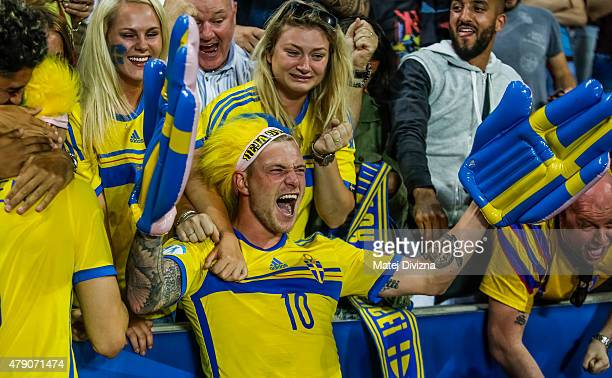 John Guidetti of Sweden celebrates with fans Swedish victory in UEFA U21 European Championship final match between Portugal and Sweden at Eden...