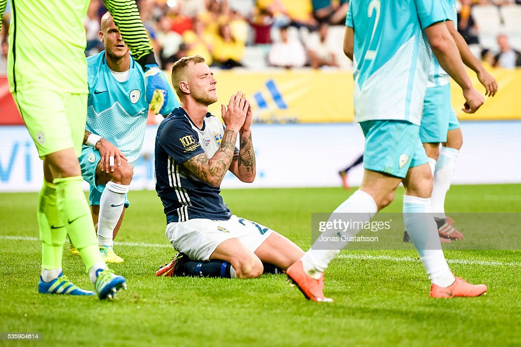 <a gi-track='captionPersonalityLinkClicked' href=/galleries/search?phrase=John+Guidetti&family=editorial&specificpeople=7115345 ng-click='$event.stopPropagation()'>John Guidetti</a> of Sweden dejected during the international friendly match between Sweden and Slovenia May 30, 2016 in Malmo, Sweden.