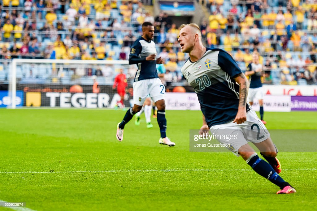John Guidetti of Sweden during the international friendly match between Sweden and Slovenia May 30, 2016 in Malmo, Sweden.