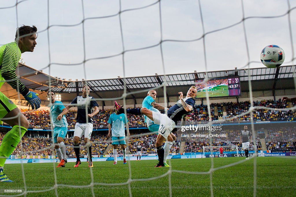 <a gi-track='captionPersonalityLinkClicked' href=/galleries/search?phrase=John+Guidetti&family=editorial&specificpeople=7115345 ng-click='$event.stopPropagation()'>John Guidetti</a> of Sweden during the international friendly match between Sweden and Slovenia on May 30, 2016 in Malmo, Sweden.