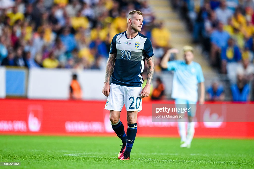 <a gi-track='captionPersonalityLinkClicked' href=/galleries/search?phrase=John+Guidetti&family=editorial&specificpeople=7115345 ng-click='$event.stopPropagation()'>John Guidetti</a> of Sweden during the international friendly match between Sweden and Slovenia May 30, 2016 in Malmo, Sweden.