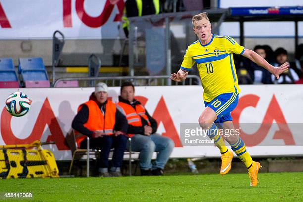 John Guidetti of Sweden in action during the UEFA Under21 Championship qualifying match between Sweden and France in Orjans Vall Stadium on October...