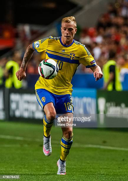 John Guidetti of Sweden in action during UEFA U21 European Championship final match between Portugal and Sweden at Eden Stadium on June 30 2015 in...