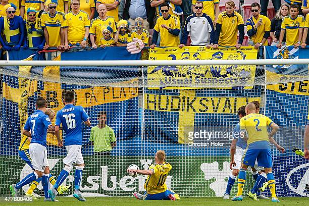 John Guidetti of Sweden scores a goal during the UEFA Under21 European Championship between Italy and Sweden at Andruv Stadium on June 18 2015 in...